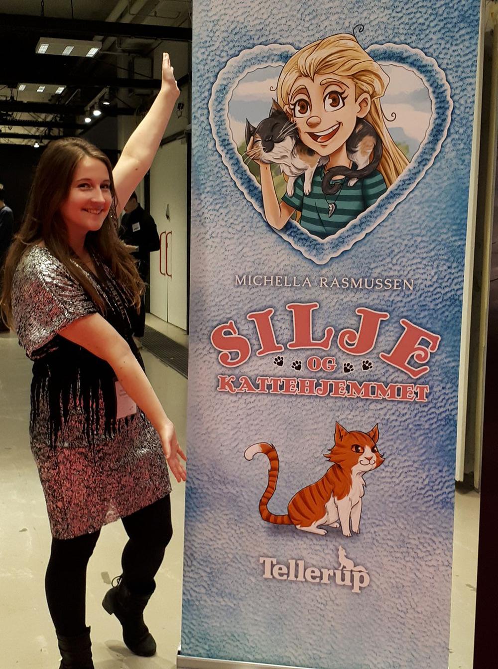 Forfatterstatus: Silje og Kattehjemmet havde fået sin egen roll-up på BogForum.